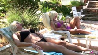 Nadja Summer und Freundin ficken Jungspund im Urlaub am Pool