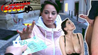 GERMAN SCOUT – Riesen Naturtitten Teen Anabelle bei Straßen Casting gefickt